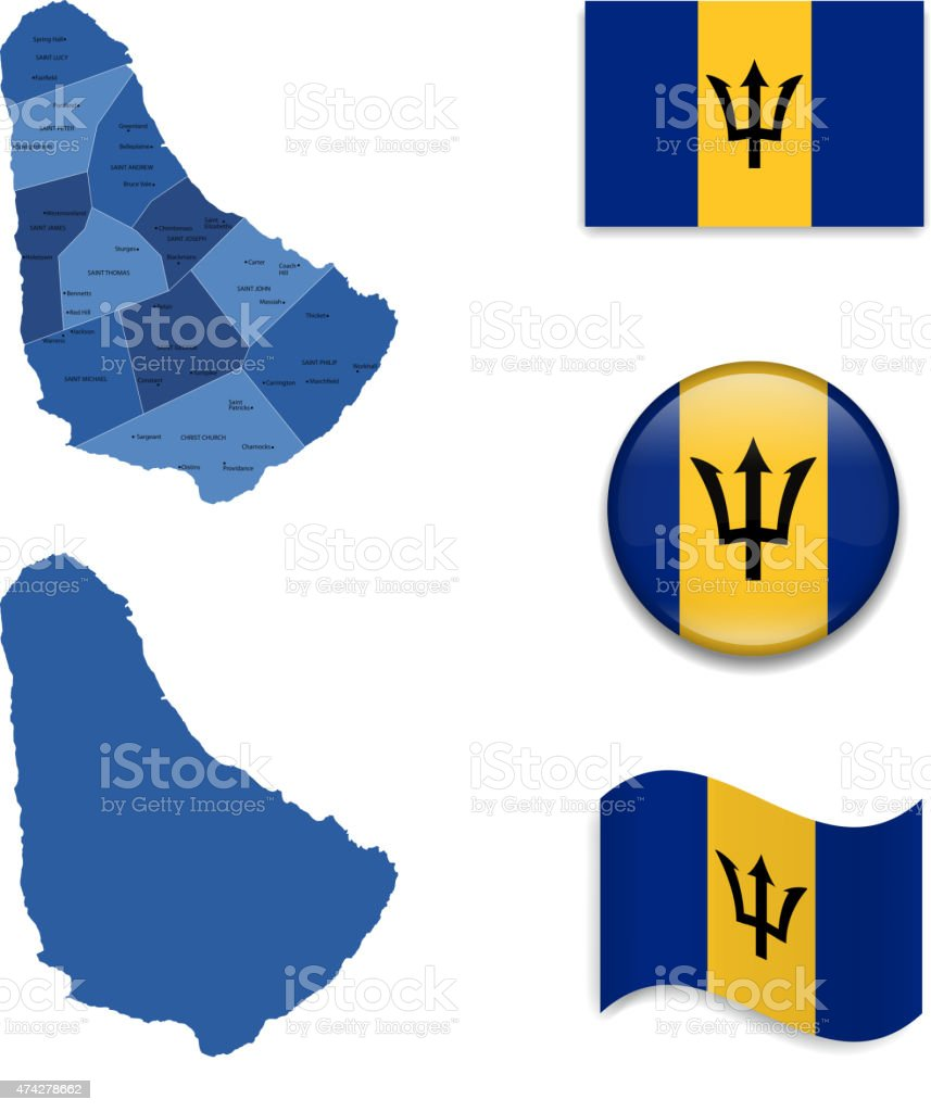 Barbados Map and Flag Collection vector art illustration