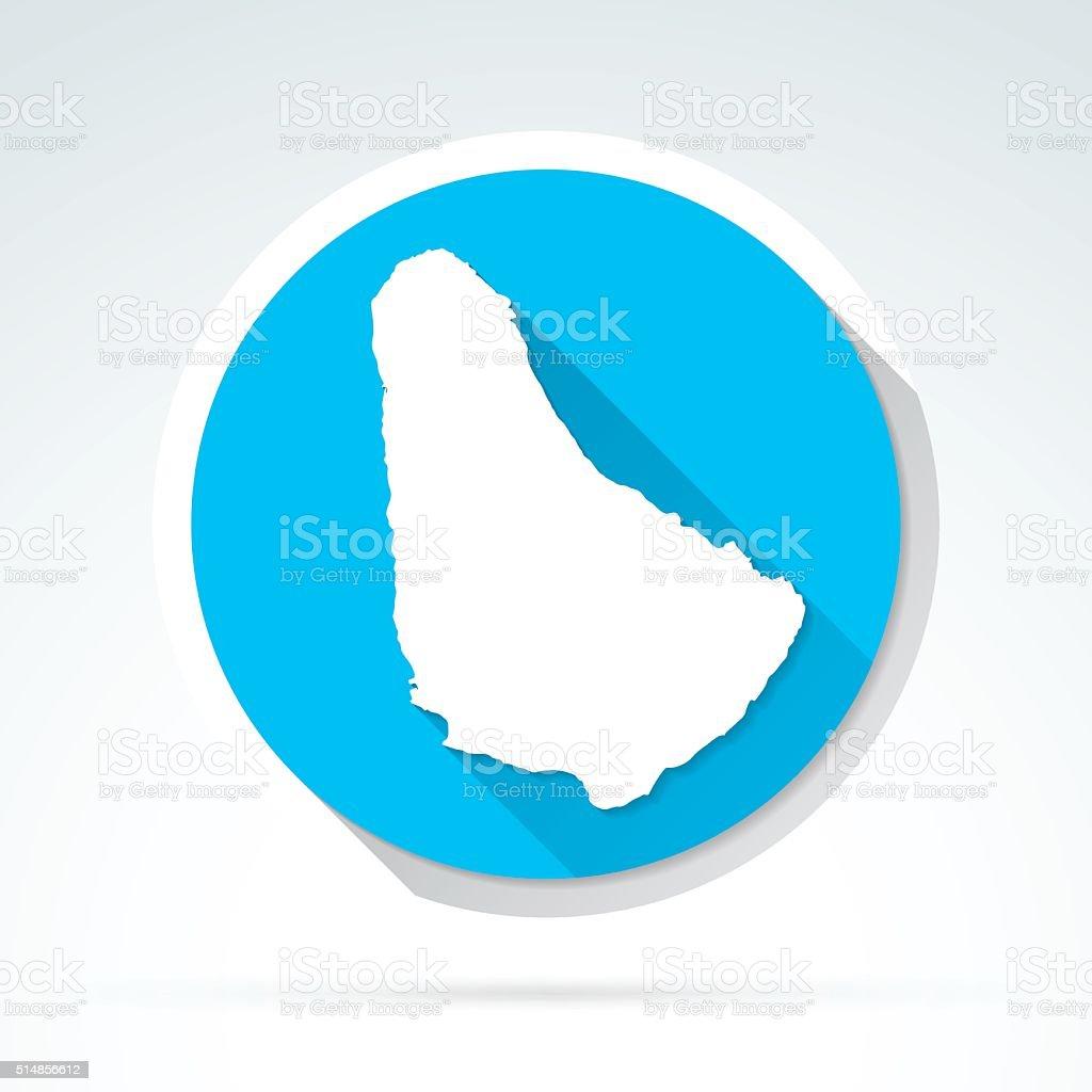 Barbados map icon, Flat Design, Long Shadow vector art illustration