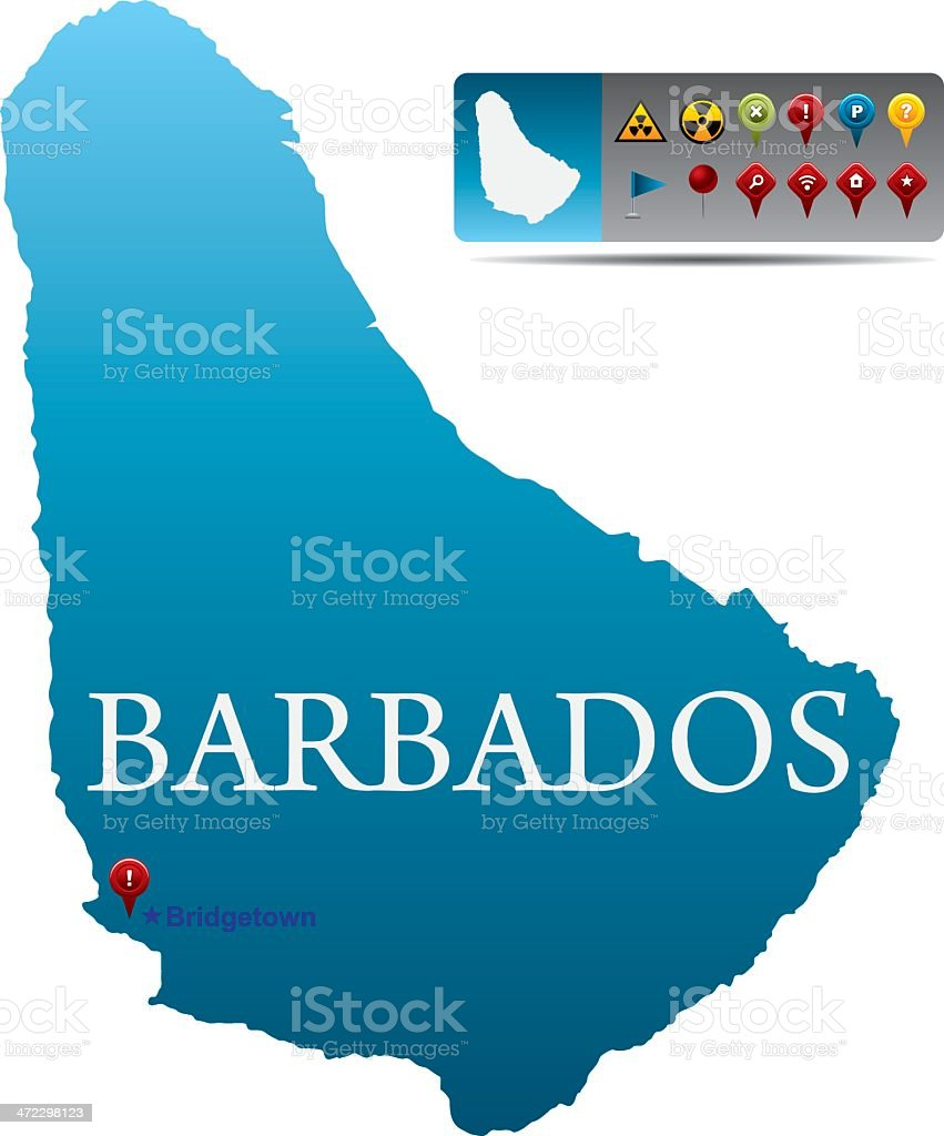 Barbados map with navigation icons royalty-free stock vector art