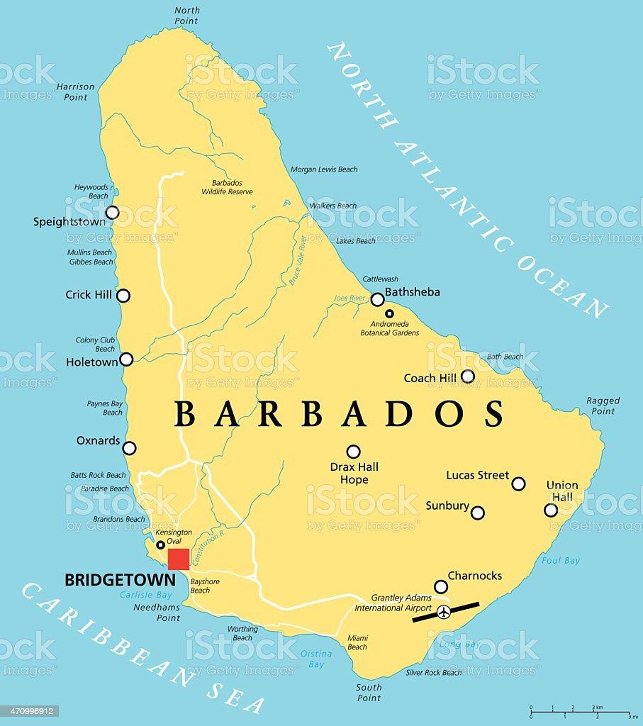 Barbados Political Map vector art illustration