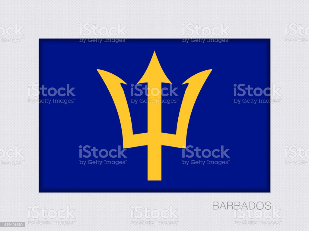 Barbados. Rectangular Official Flag with Proportion 2:3 vector art illustration