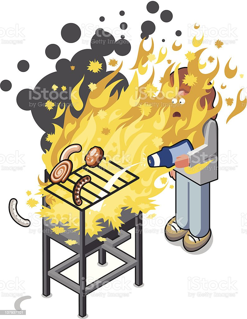 Barbecue accident royalty-free stock vector art