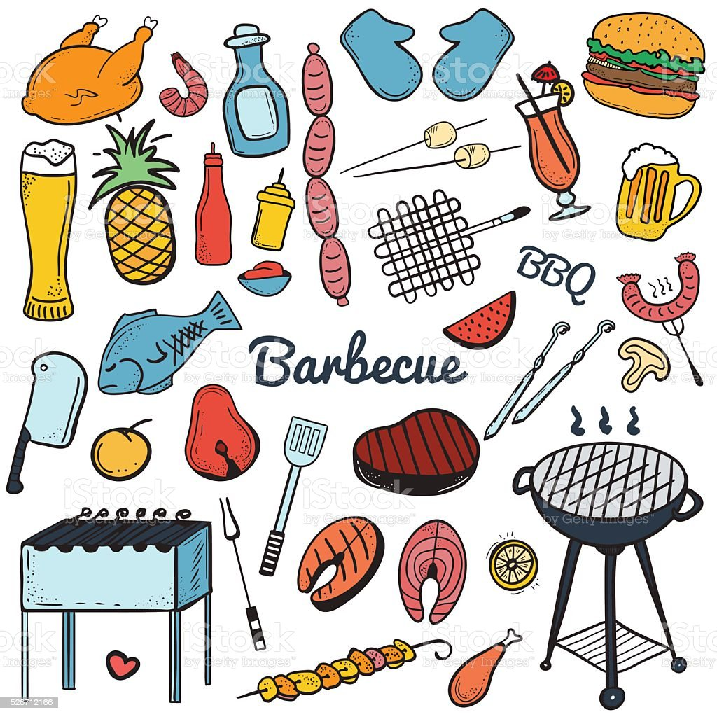 Barbecue and butchery seamless pattern vector art illustration
