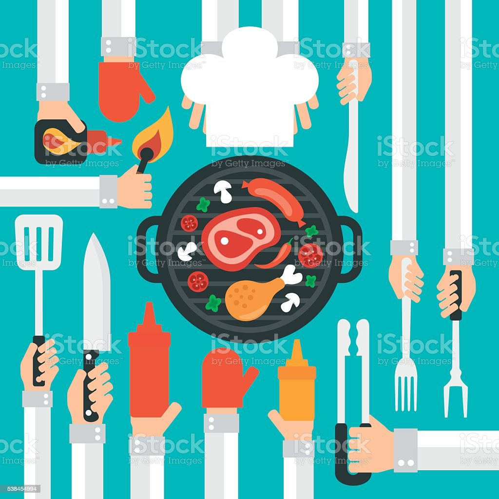 Barbecue and grill concept design flat vector art illustration
