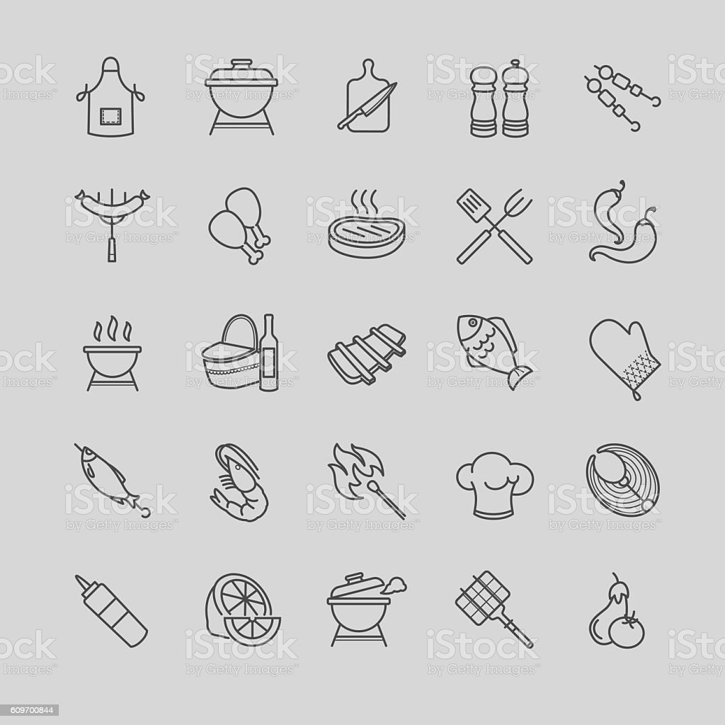 barbecue and grill icons vector art illustration