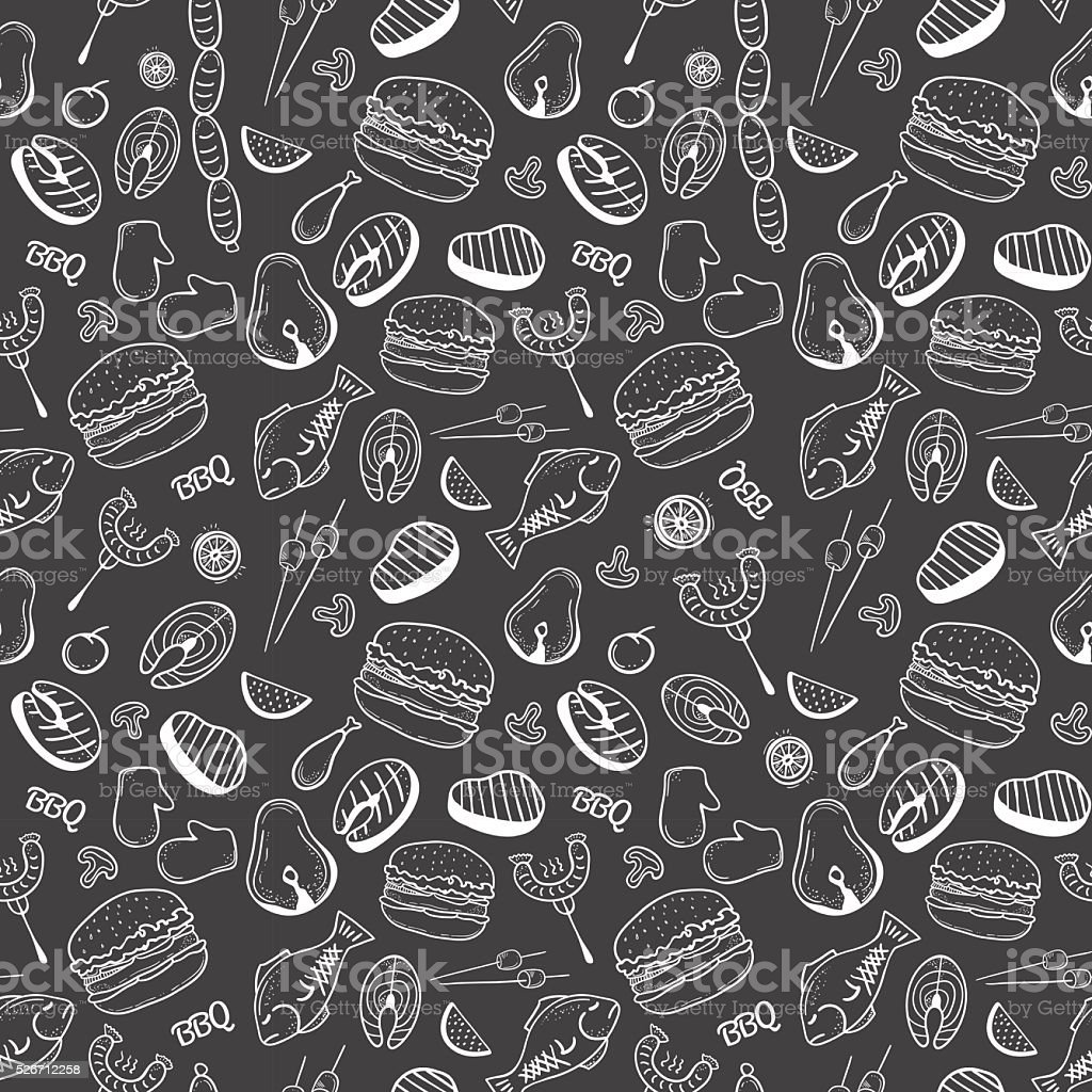 Barbecue and grill seamless pattern vector art illustration