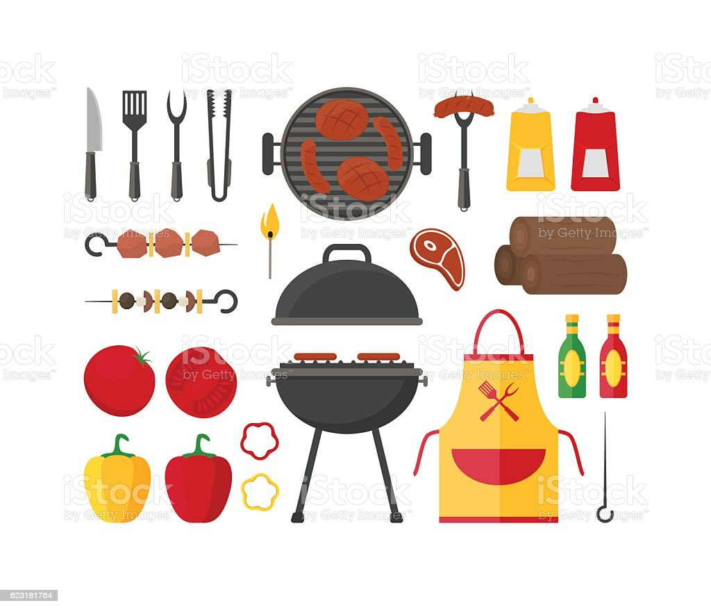 Barbecue and Grill Set. Vector vector art illustration