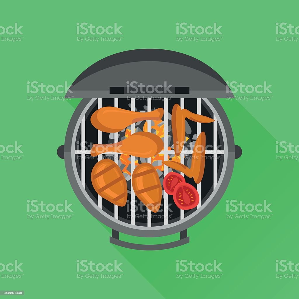 Barbecue and grilled chicken. Top view. Vector flat style illustration. vector art illustration