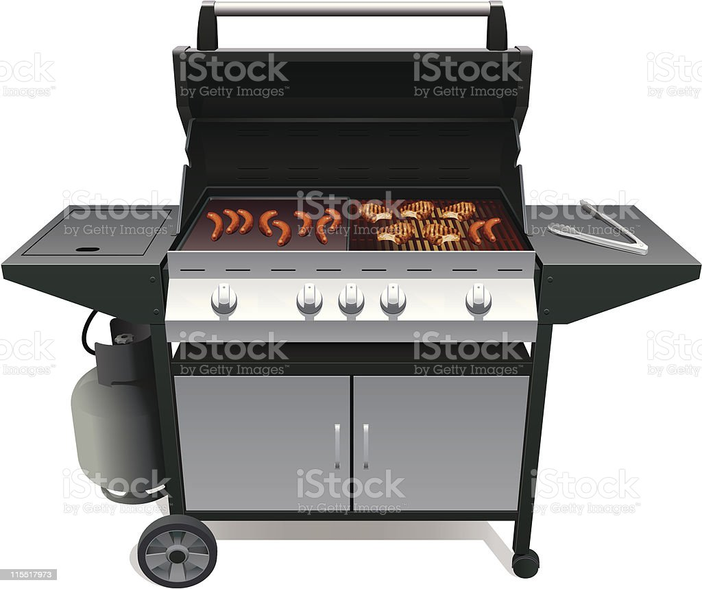 Barbecue And Meat vector art illustration