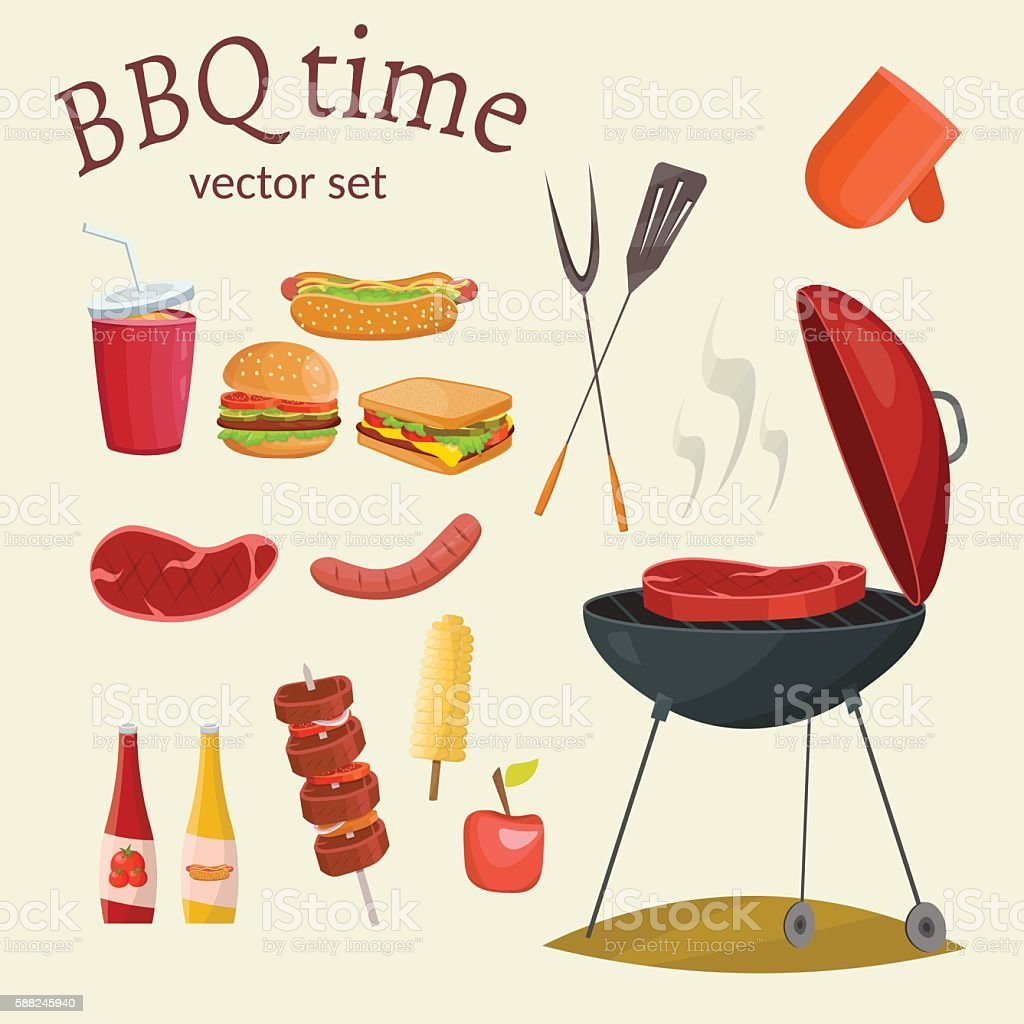 Barbecue and picnic vector set vector art illustration