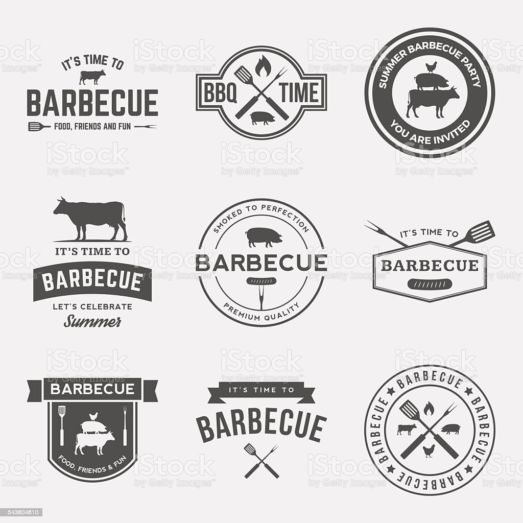 barbecue badge on red  grunge background vector art illustration