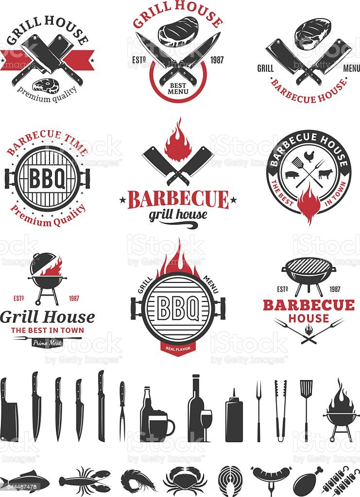 Barbecue black and red labels vector art illustration
