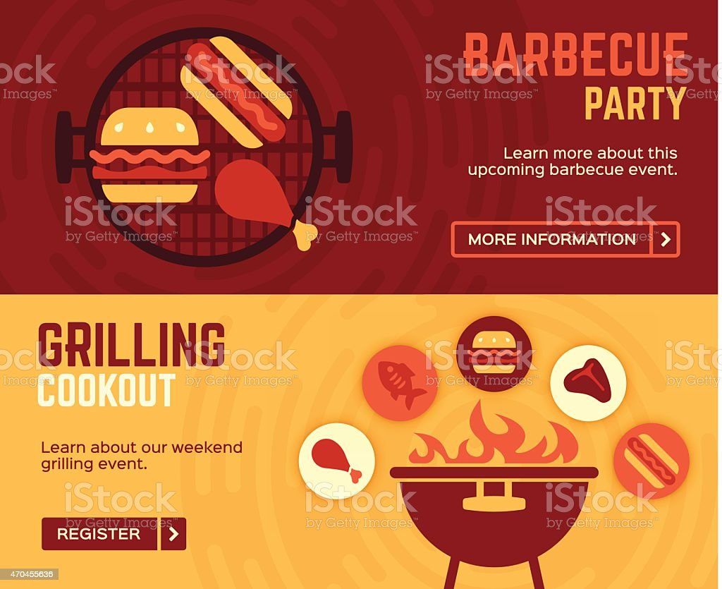 Barbecue Cookout Grilling Banners vector art illustration