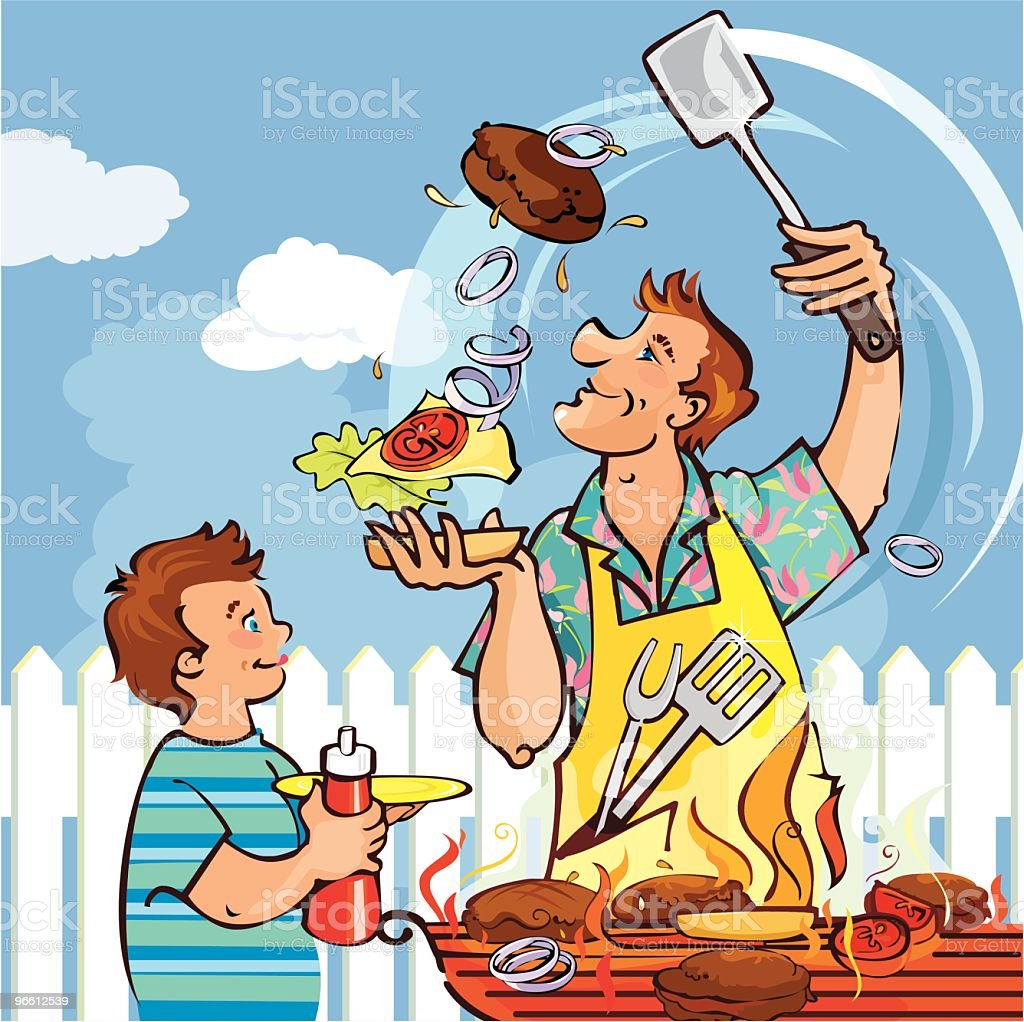 Barbecue Dad royalty-free stock vector art