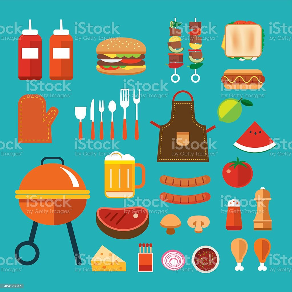 barbecue flat icon vector art illustration