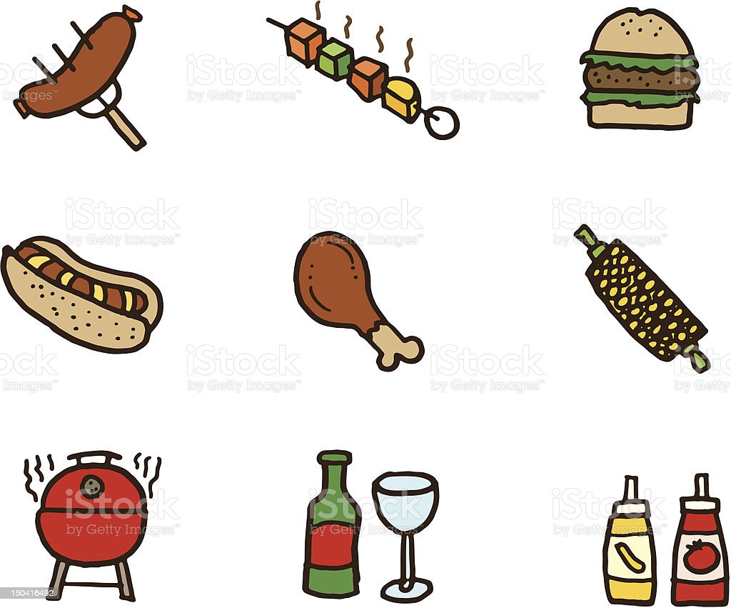 Barbecue food icons vector art illustration