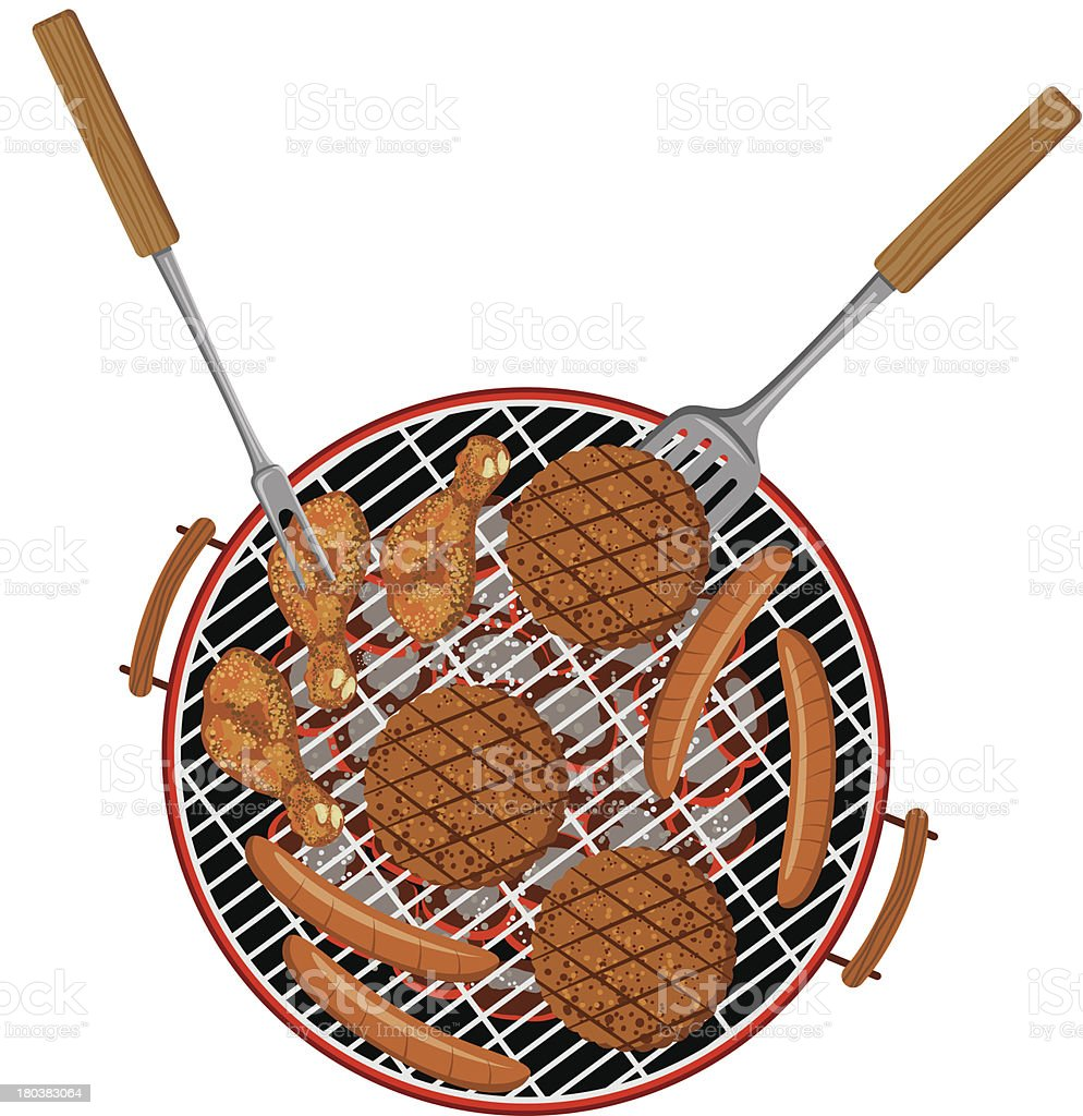 Barbecue From Above royalty-free stock vector art