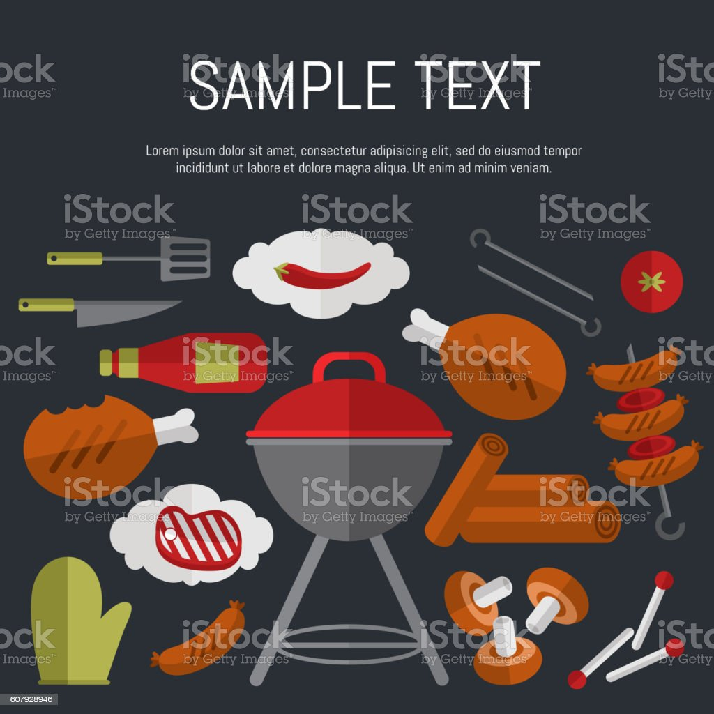 Barbecue grill card, design template. vector art illustration