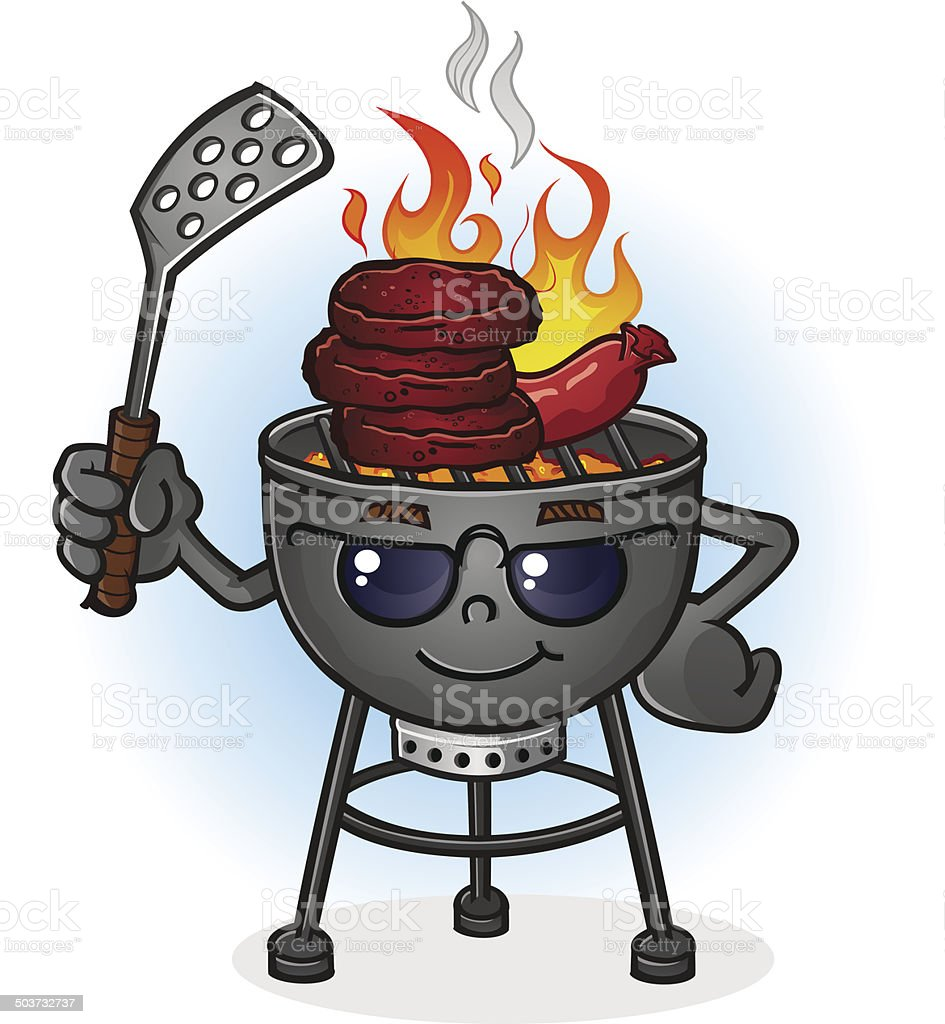 Barbecue Grill Cartoon Character with Attitude vector art illustration