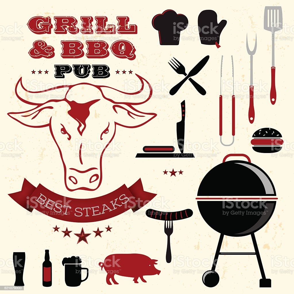 Barbecue grill elements collection vector art illustration