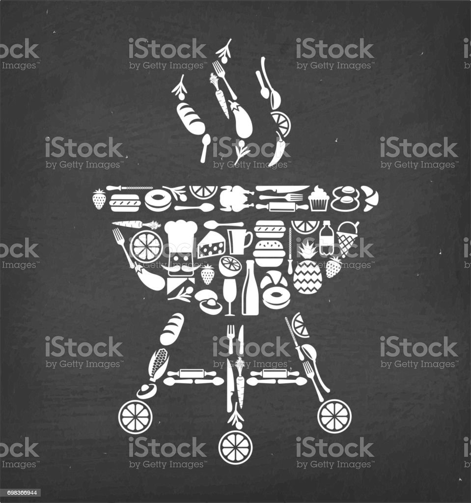 Barbecue Grill Food & Drink royalty free vector icon pattern. This...