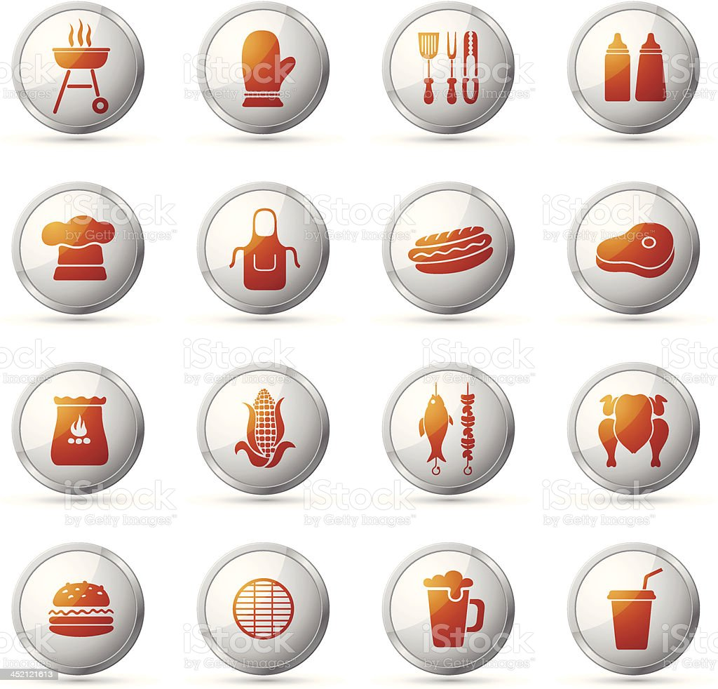 Barbecue Grill Icon Set royalty-free stock vector art