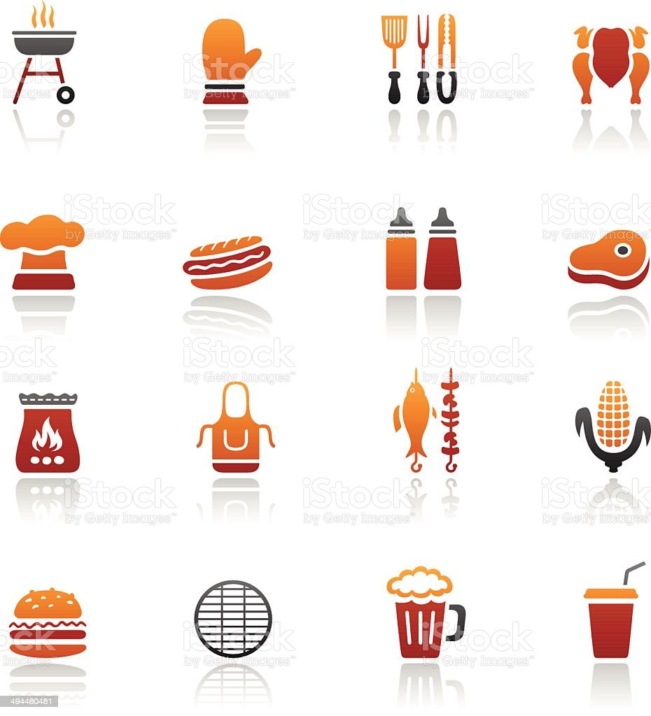 Barbecue Grill Icons royalty-free stock vector art