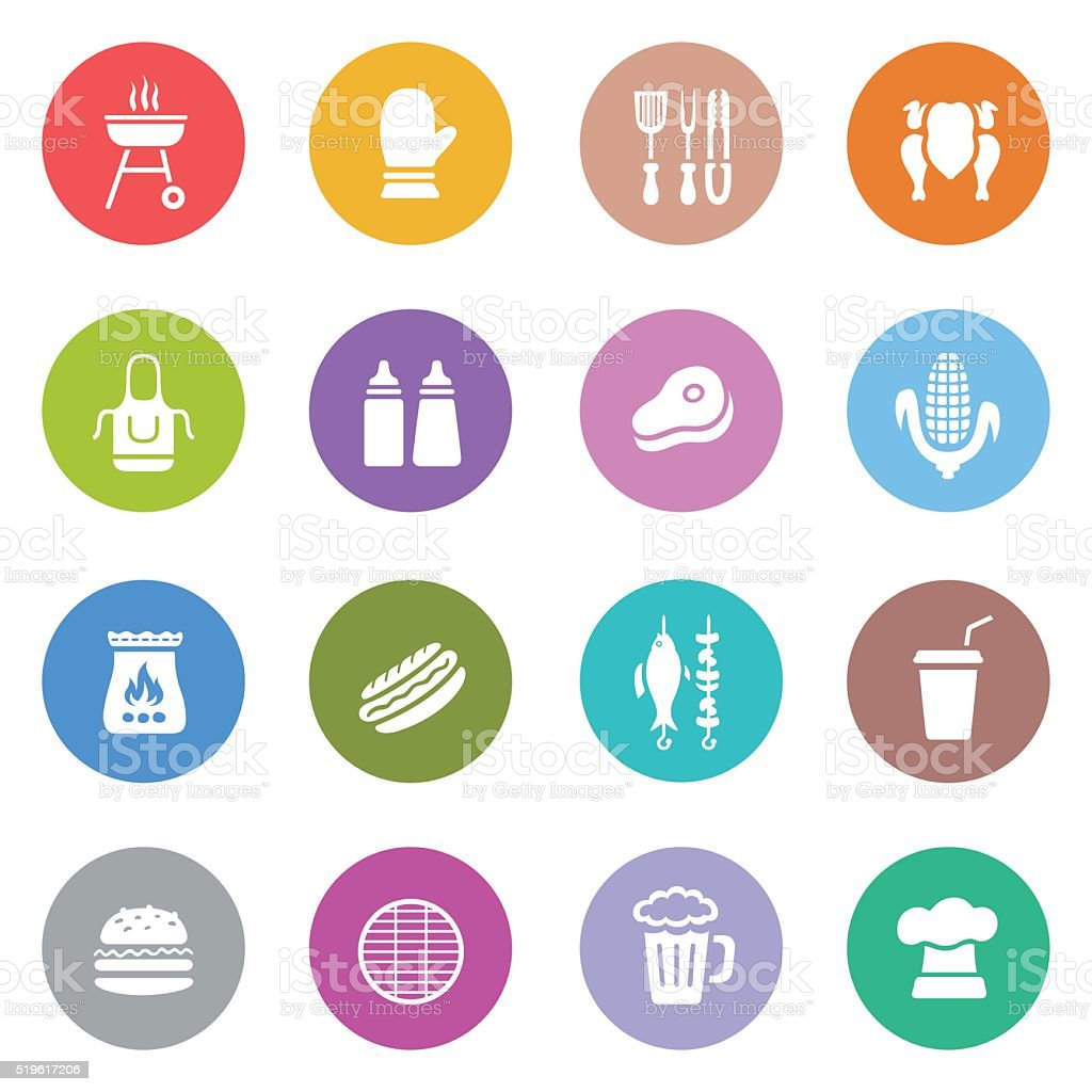 Barbecue Grill Icons vector art illustration