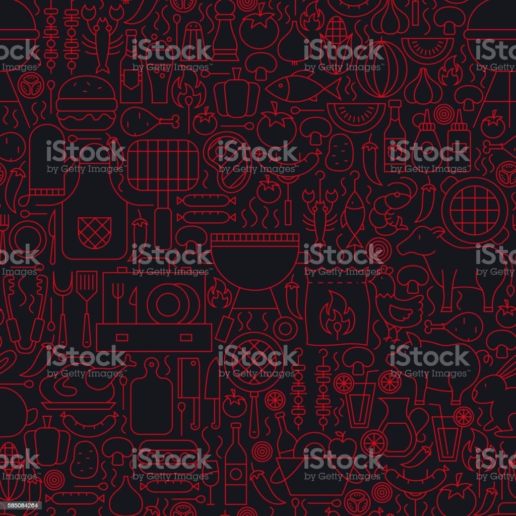 Barbecue Grill Line Seamless Pattern vector art illustration