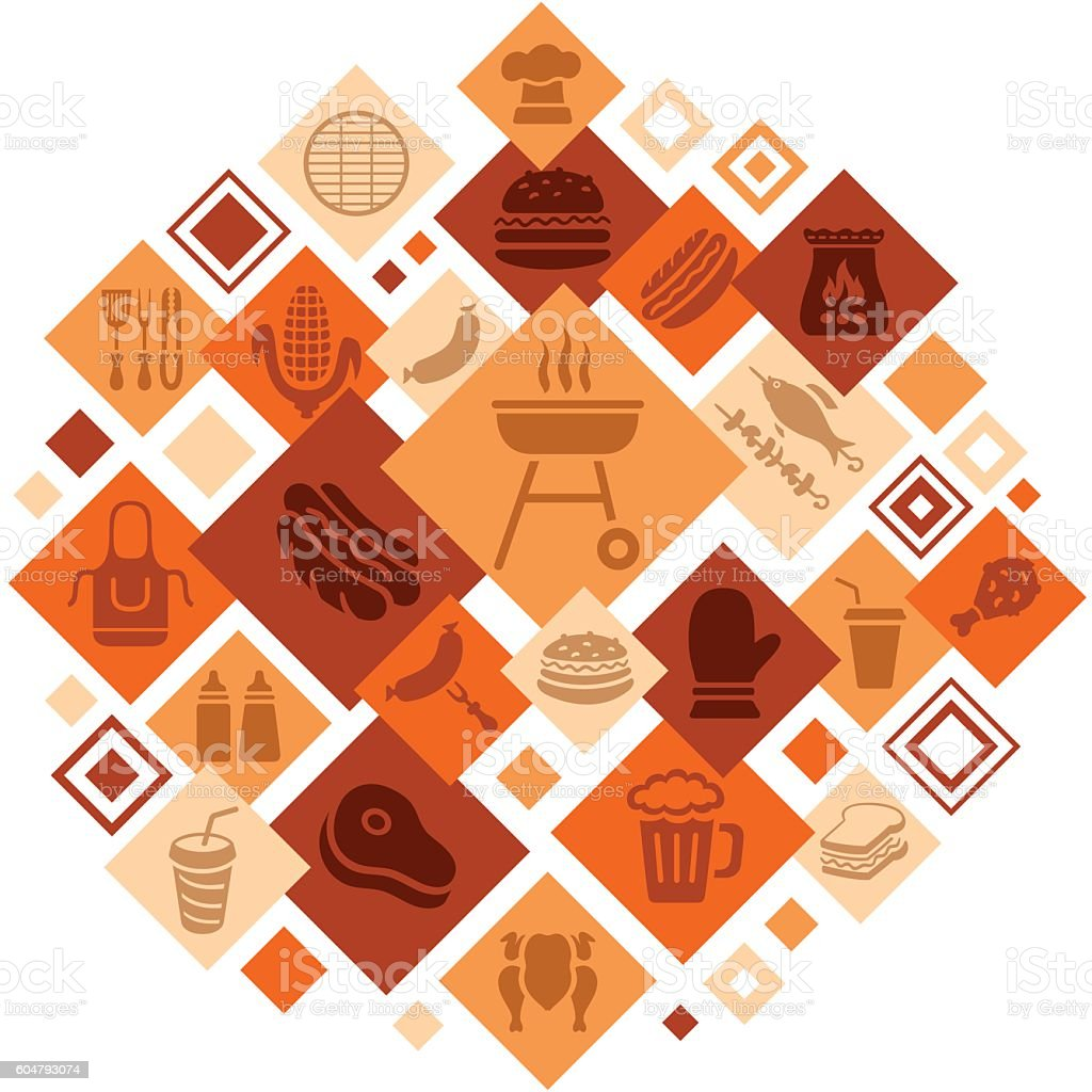 Barbecue Grill Montage vector art illustration