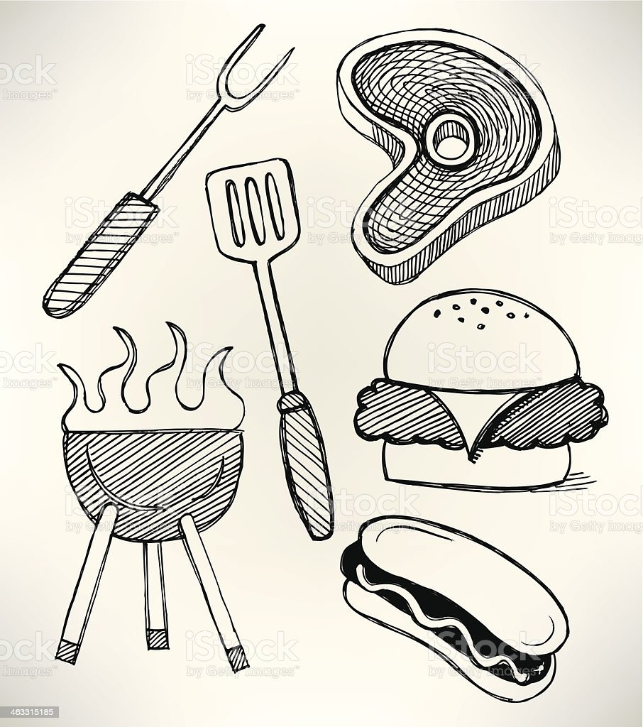 Barbecue Grill Picnic Cook Out Doodles vector art illustration