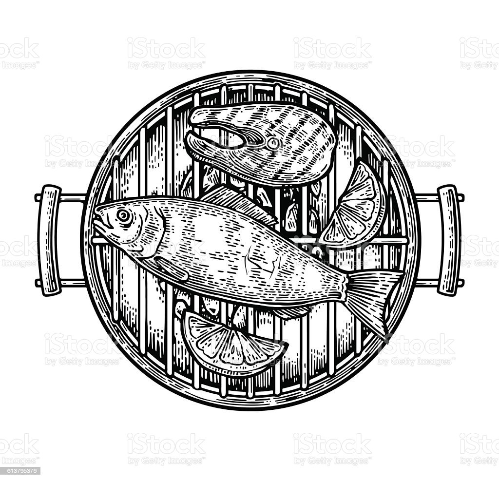 Barbecue grill top view with charcoal, fish steak and lemon. vector art illustration