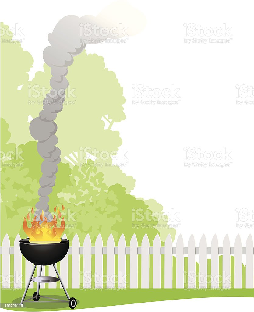 Barbecue grill with fence and trees royalty-free stock vector art