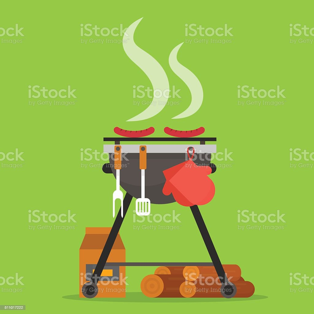 Barbecue. Grill with tools and firewood. vector art illustration