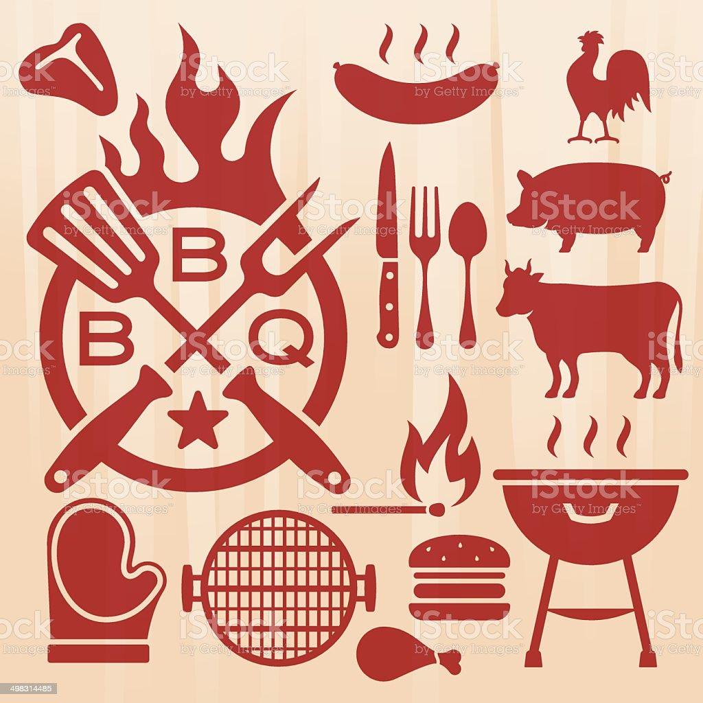 Barbecue Grilling Elements vector art illustration