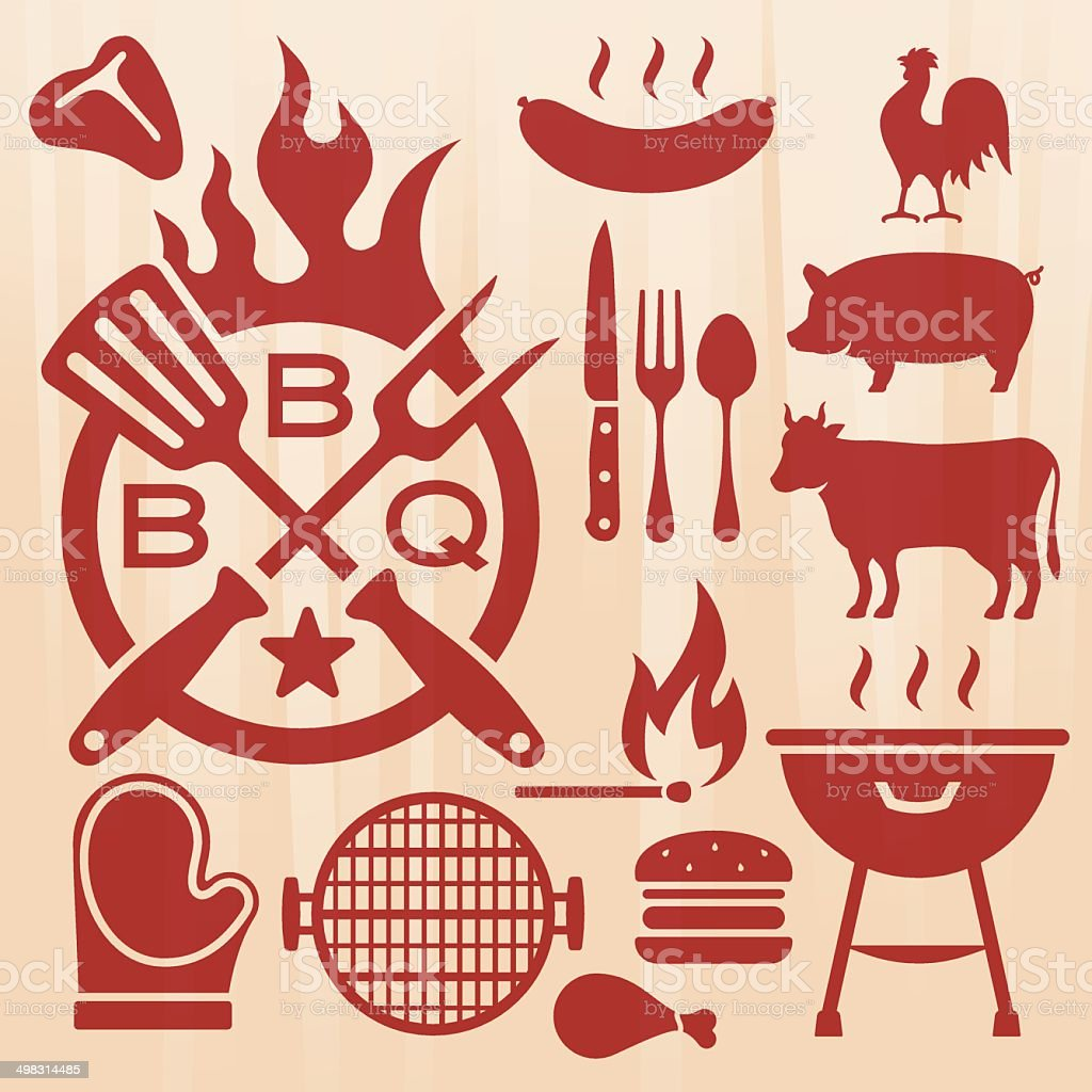 Barbecue Grilling Elements vector art illustration