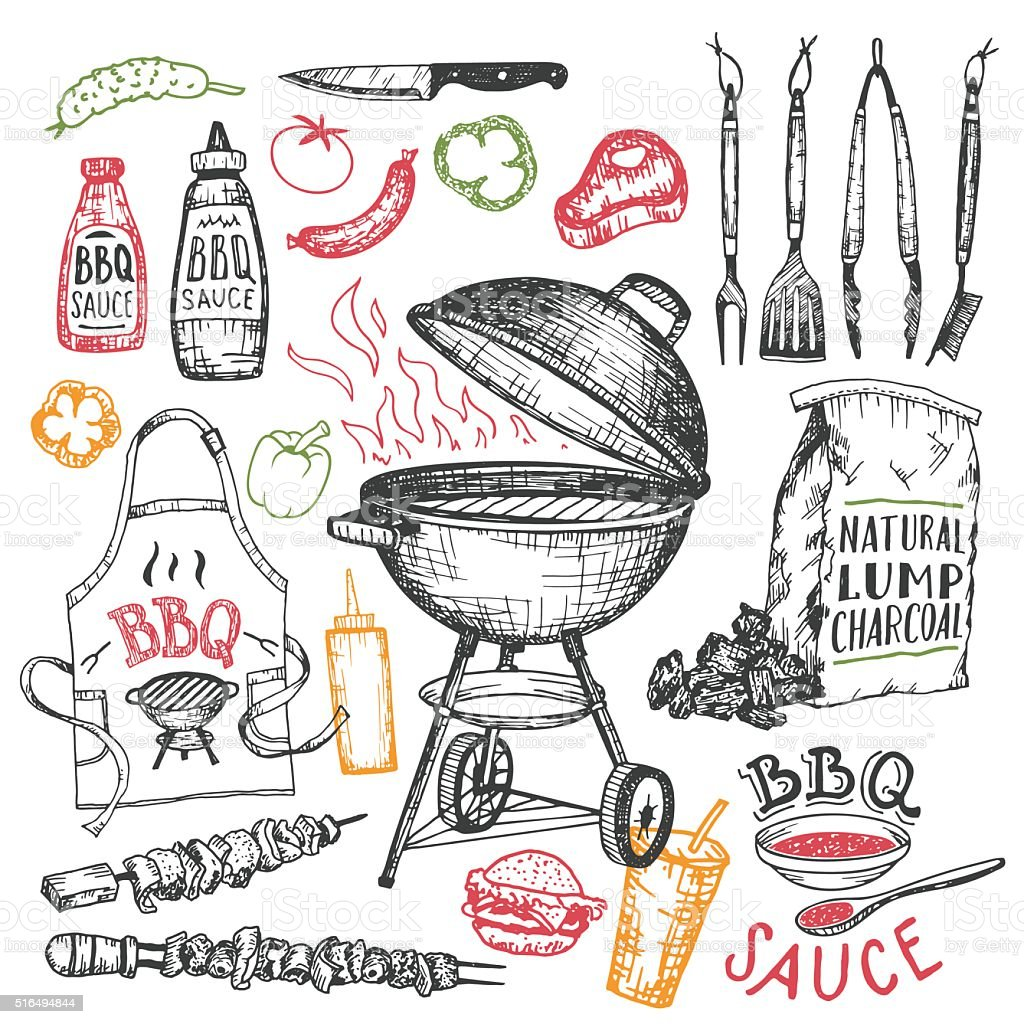 Barbecue hand drawn elements set isolated on white vector art illustration