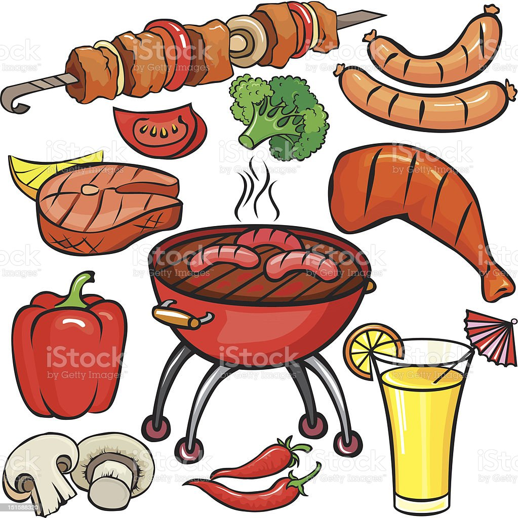 Barbecue icon set royalty-free stock vector art