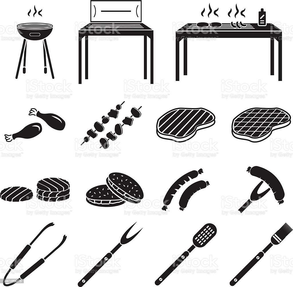 Barbecue icons set vector art illustration