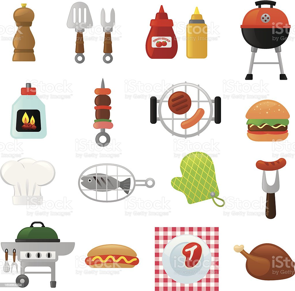 Barbecue icons | smoso series vector art illustration