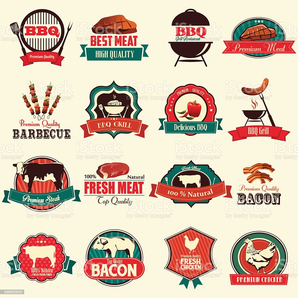 Barbecue icons vector art illustration
