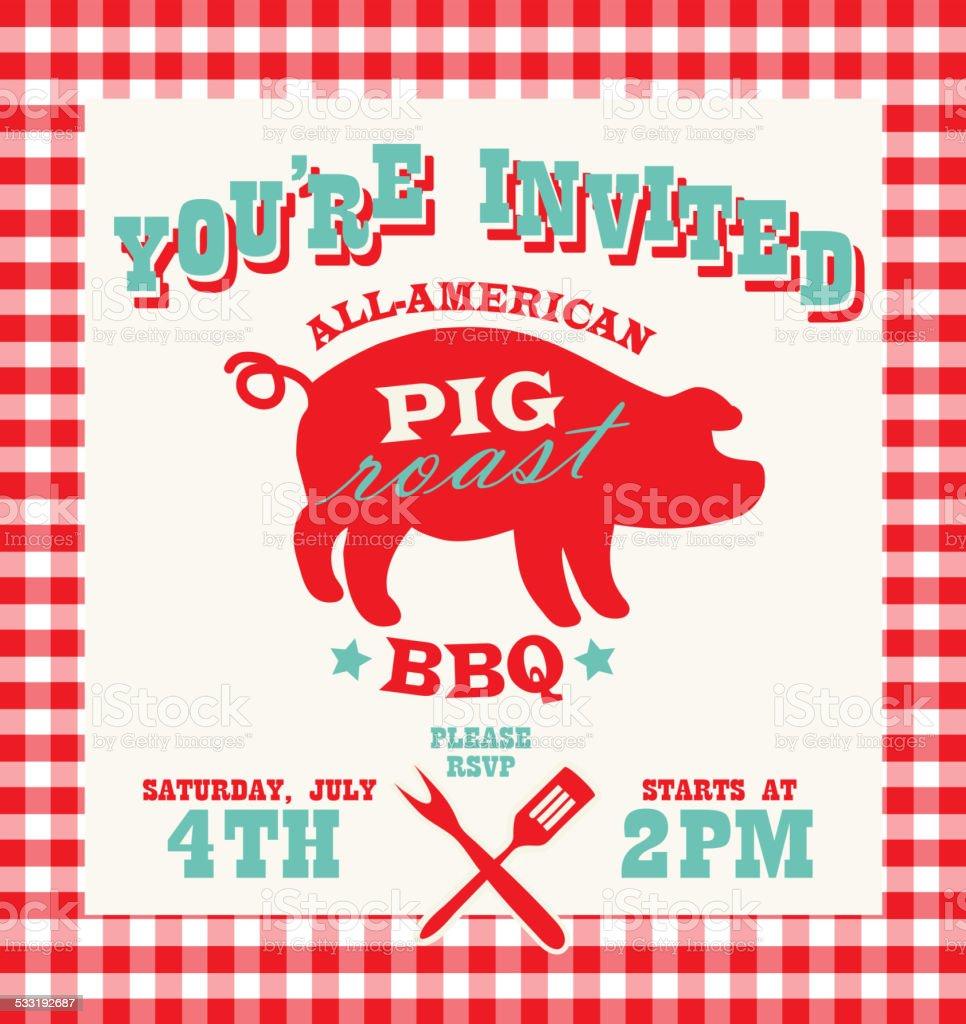 BBQ barbecue invitation design template on picnic background vector art illustration