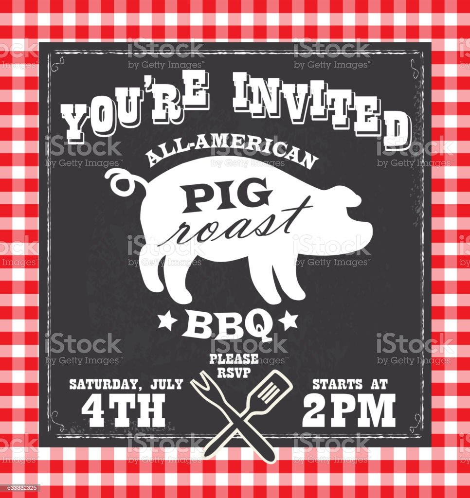 BBQ barbecue invitation design template with pig silhouette vector art illustration