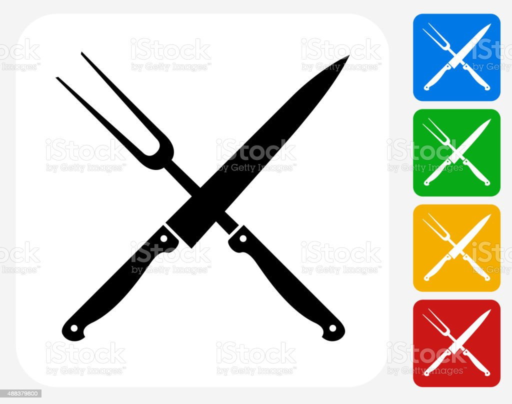 Barbecue Knife and Fork Icon Flat Graphic Design vector art illustration