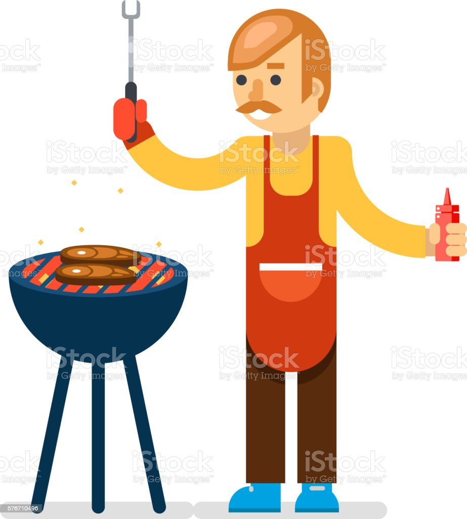 Barbecue man cook isolated background vector illustration vector art illustration