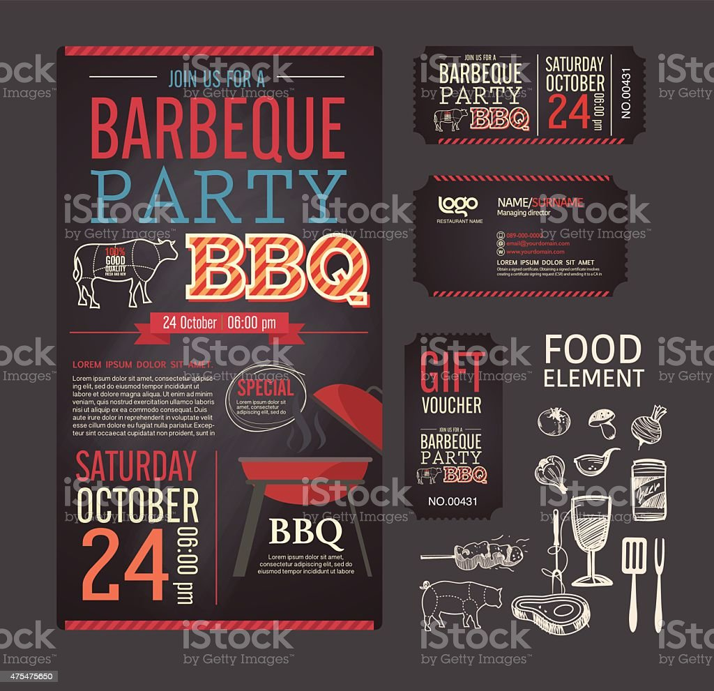 Barbecue party BBQ template menu design set. vector art illustration