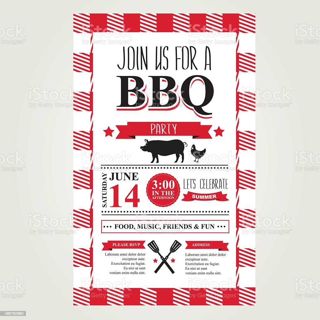 Barbecue party invitation, bbq brochure menu design. vector art illustration