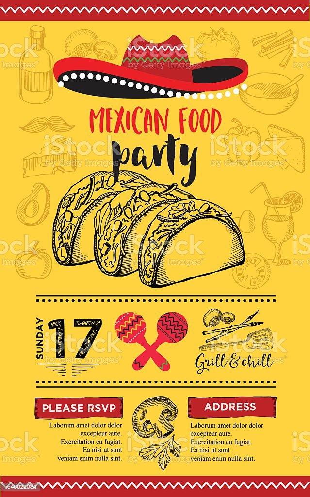 Barbecue party invitation. BBQ template menu design. Food flyer. vector art illustration