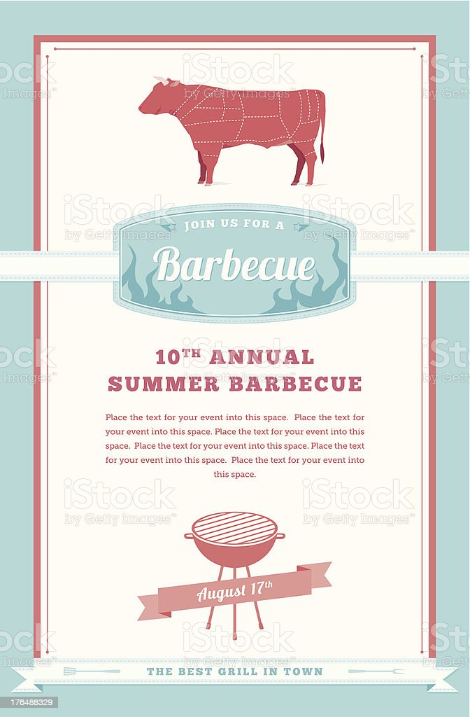 Barbecue Party Invitation, Beef Design royalty-free stock vector art