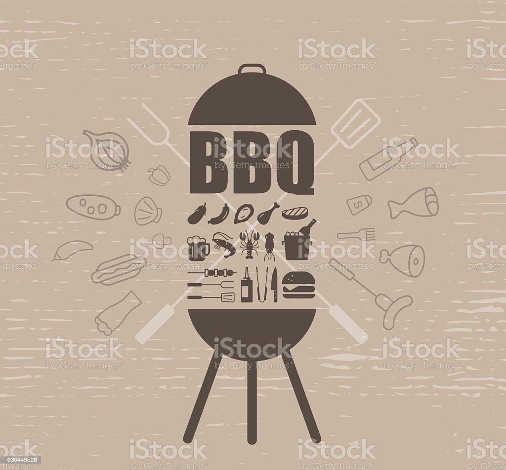 barbecue party invitation design template vector art illustration